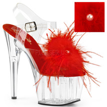 "PLEASER Sexy 7"" Heel Platform Red Marabou Feather Ankle Strap Women's Shoes - $50.95"
