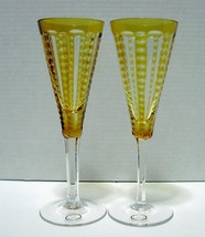 Set of Two (2) Hungarian Crystal Champagne Glasses Yellow-Clear  - $10.99