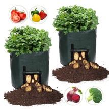 Plant Bags, Garden 2-Pack 7 Gallon Grow Bags Heavy Duty Breathable  - $17.30 CAD