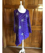 The Paragon Purple Beaded & Sequins Long Bell Sleeves Irregular Hem Tuni... - $18.00