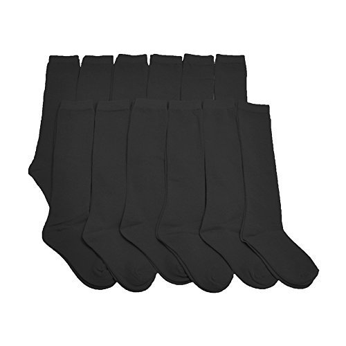 Angelina Dozen-Pack Cotton Knee High Socks, #3102_BlackS