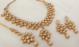 Indian Ethnic Gold Plated Kundan White Bridal Wedding Jewelry Necklace Set - $14.49