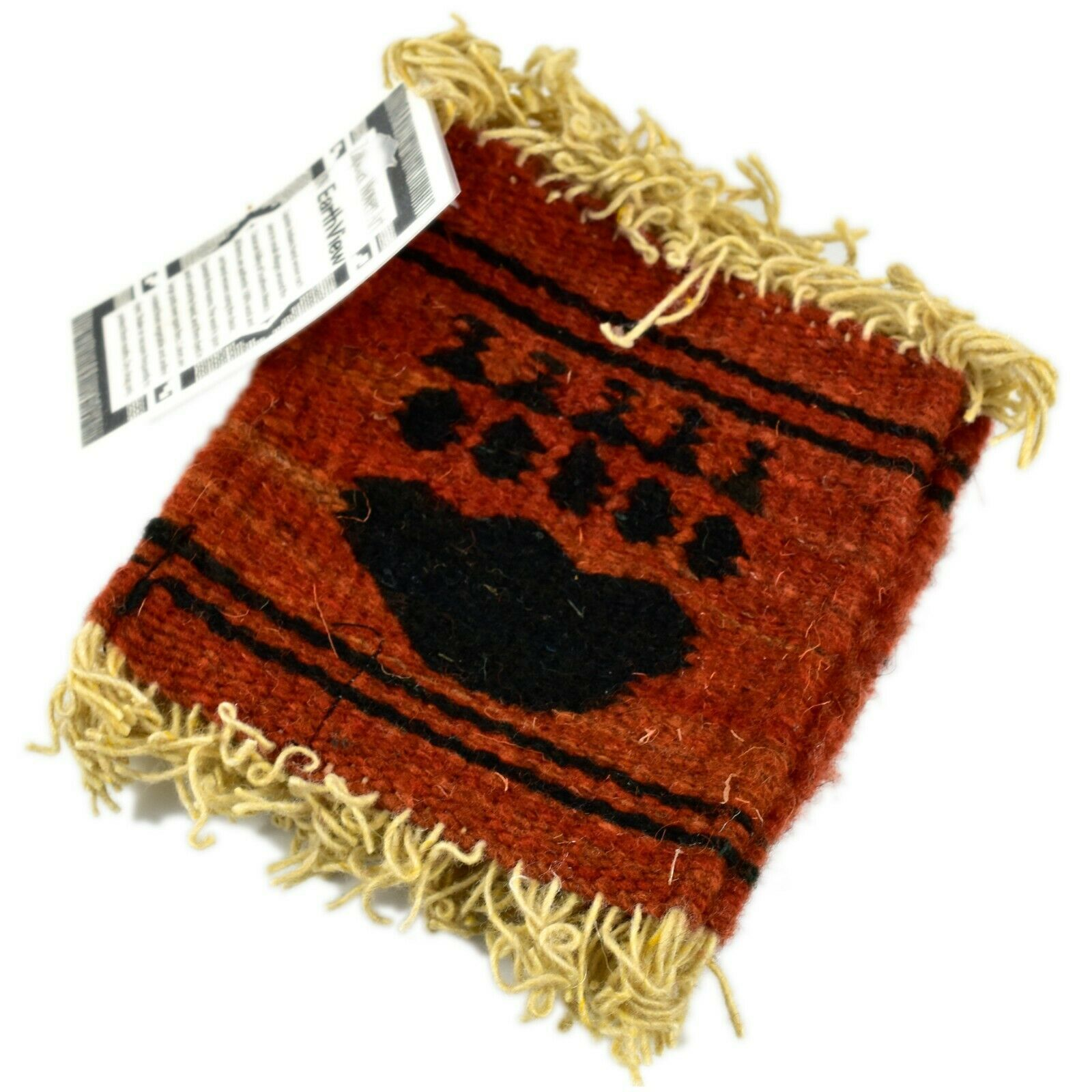 Handmade Zapotec Indian Weaving Hand-Woven Bear Claw Red Wool Coaster Set of 4