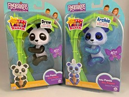 WowWee Fingerlings Set of 2 Pandas Drew (Black) & Archie (Blue) Brand NE... - $19.79