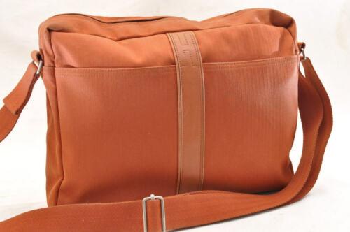HERMES Acapulco Besace Coton Leather Orange Shoulder Bag Auth 5186