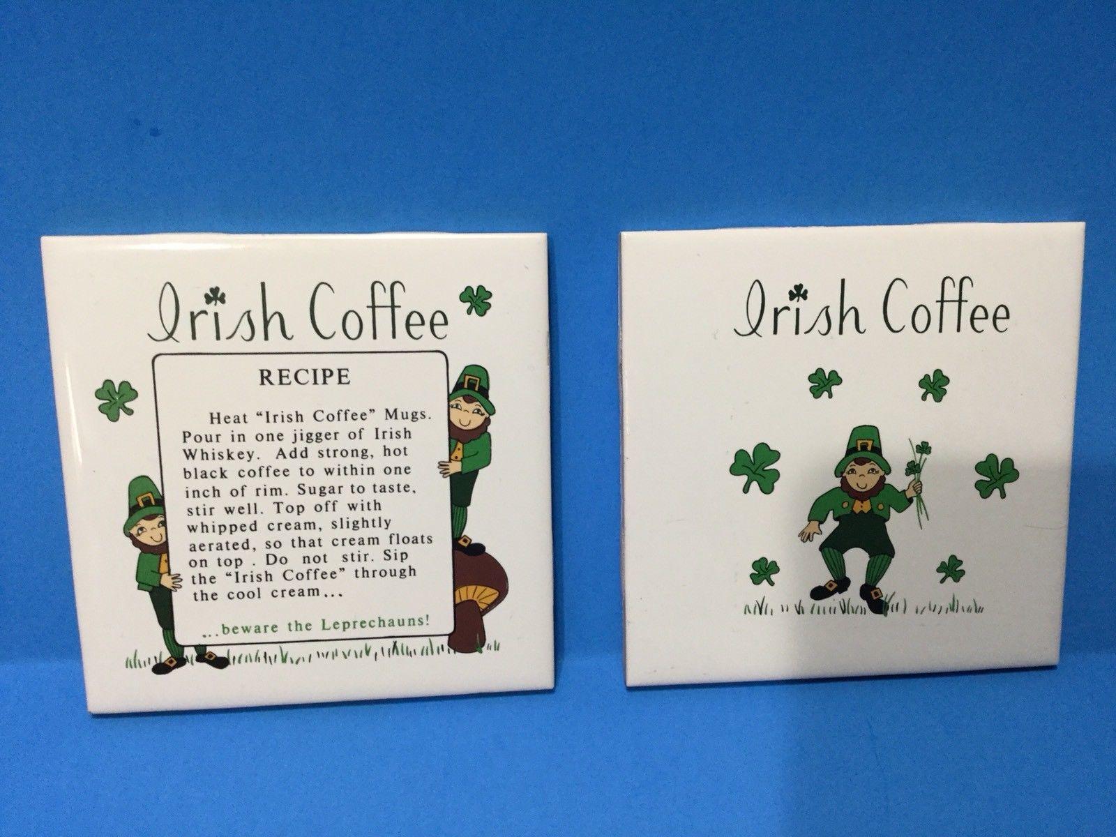 St Patrick's Day Vintage Pair Of Irish Ceramic Tile Trivets