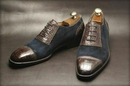 Handmade Men's Chocolate Brown Crocodile Texture Leather Blue Suede Oxford Shoes image 1