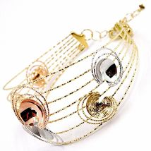 18K YELLOW, WHITE, ROSE GOLD BANGLE BRACELET WORKED MULTI WIRES, FLOWERS DISCS image 3