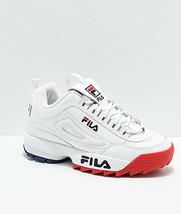 Donna Fila Disruptor II Premium Bianco Rosso Scarpe Blu Nuovo 2 - $99.94