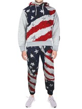 Lavish Society Men's Athletic US Flag Pullover Hoodie Jacket Pants Tracksuit Set
