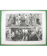 GREECE Peoples Costume Dancer Priests Sacrifice - Antioque Print - $12.15