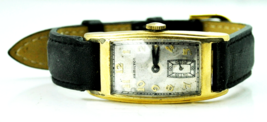 1936 Men's Hamilton Clark 980 17 Jewels Skinny Curved 14k GF Wristwatch 21mm - $142.55