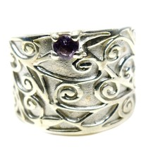 Natural Round Amethyst Ring Antique Band Sterling Silver Fine Jewelry Si... - £33.24 GBP