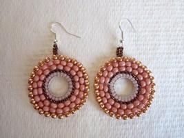 Handmade Matte Pink, Rose Gold & Bronze Kaleidoscope Silver Tone Earrings. - $7.60