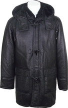 Men's New Extremely Warm Winter Black Sheepskin Hood Duffle Coat QMSJ15 - $544.50