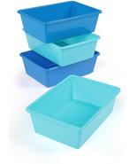 Tot Tutors Large Plastic Storage Bins, Set of 4 (Blue, Light - $12.99+