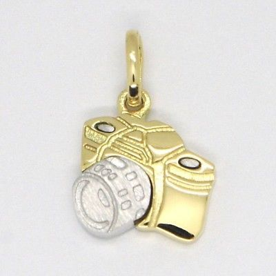 PENDENTIF EN OR JAUNE BLANC 750 18K, VOITURE PHOTOGRAPHIQUE, MADE IN ITALY
