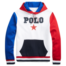 Polo Ralph Lauren Mens Cotton-Blend Graphic Hoodie 468832 White/Multi Sz... - $106.40