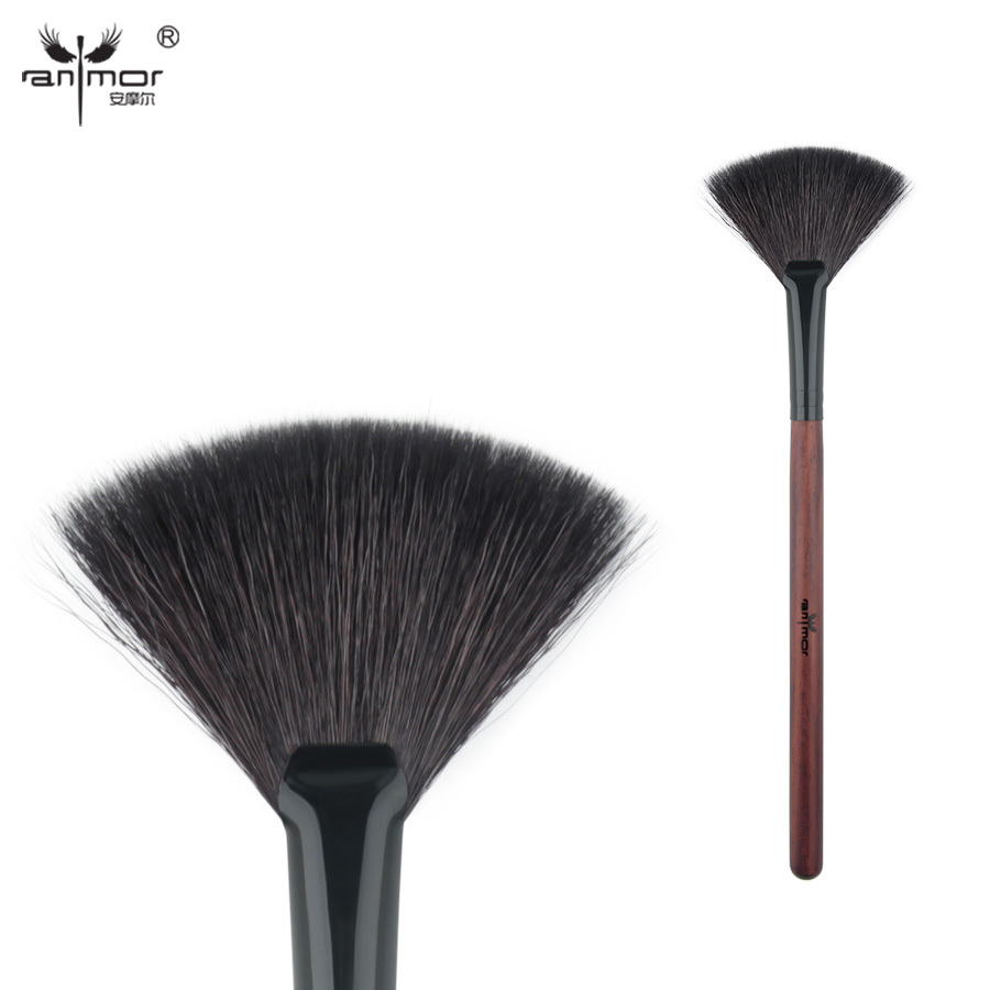 Anmor goat hair fan brush high quality make up brushes for daily or professional makeup 1