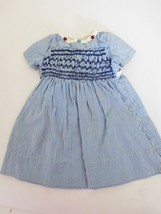 Vintage Cotton Dress Blue & White Stripe w/ Smocking for Medium Doll - $18.99