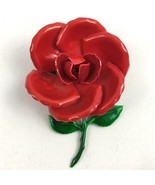 Vintage Enamel Red Rose Brooch Pin Floral Flower Large Statement with St... - $32.69 CAD