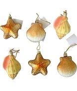 6 Blown Glass Shell Seashell Christmas Ornaments - $24.70