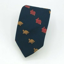 Country Store of Concord Tortoise & Hare Design Navy Blue Tie Rabbit Turtle - $29.99