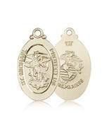 MARINES MEDAL - 14KT Gold St. Michael Medal - NO CHAIN - 4145 - $1,399.99