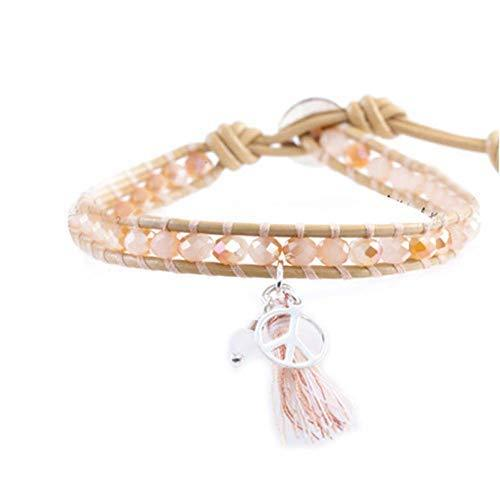 Great Gift for Girls Fashion Bracelet with Pendant Leather Cord Bracelet [Pink]