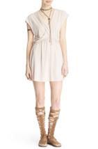New Free People sz XS Crisscross Front Draped Mini Dress Pearl Color - $54.19