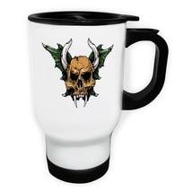 Skull Devil Horns Novelty Vintage Art White/Steel Travel 14oz Mug n11t - $17.79