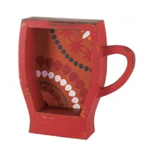 Distressed Red Coffee Cup Wooden Shelf - $44.95