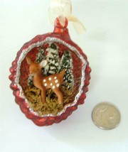 Bethany Lowe Xmas Glass  Pinecone Indent Fawn Deer Diorama Ornament Red NEW - $19.79