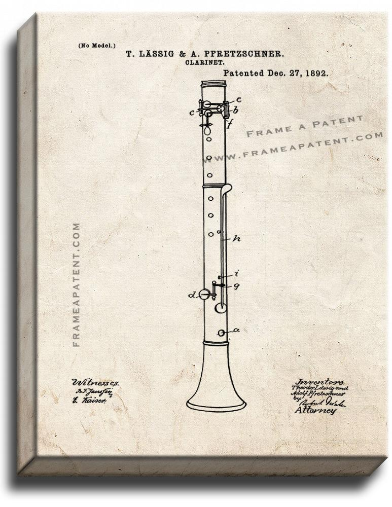 Primary image for Clarinet Patent Print Old Look on Canvas