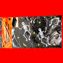 Gothic-DANCING SKELETONS BORDER TABLE CLOTH COVER-Fun Halloween Party De... - $3.93