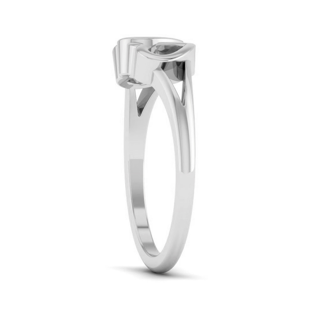 Solid 18k White Gold Heart Ring Anniversary Ring Gift Dual Heart Ring Free Ship