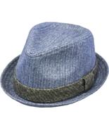 Henschel Wool Blend Flip Brim Fedora Contrasting Band And Loop Blue Cha... - $42.00