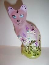 Fenton Glass Passion Pink Butterfly Bush Stylized Cat Figurine LE Kibbe ... - $222.62