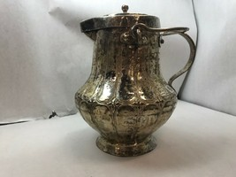 Antique SILVER PLATE Water PITCHER WITH LID and Two Handles HAMMERED Design - $53.45
