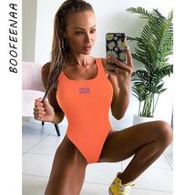 BOOFEENAA Neon Orange Sexy Bodysuit Women Tank Top Summer Letter Embroidery Ribb - $41.99