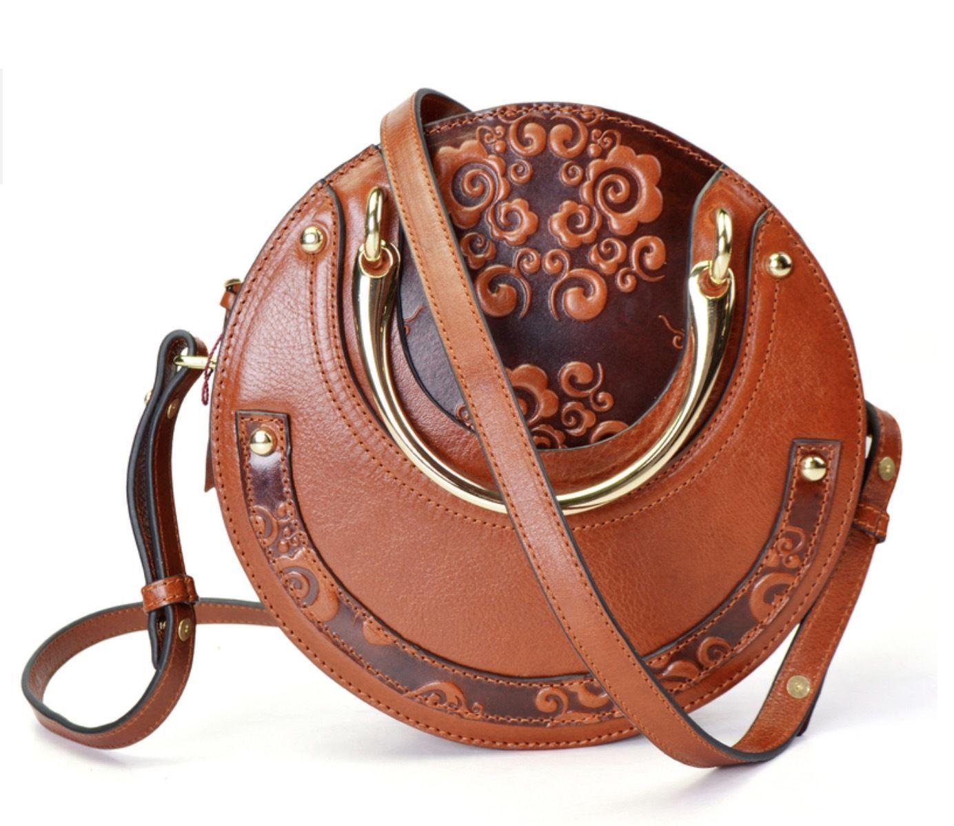 Italian Leather Floral Embossed Circle Handbag Satchel Purse Shoulder Bag 2354