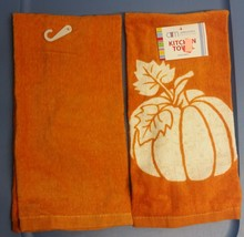 SET of 2 SAME PRINTED KITCHEN TERRY TOWELS, HALLOWEEN PUMPKIN ON ORANGE ... - $10.88