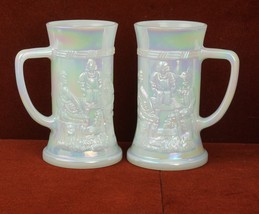 Lot of 2 Iridescent White Milkglass Federal Glass Beer Stein Mug Embosse... - $35.80