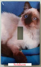 Balinese Cat Light Switch Power Outlet Duplex Cover Plate Home Decor image 1