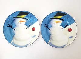 "Set of 2 The Sakura Cherry Snowman Decorative 8 1/4"" Salad Dessert Plate - $18.50"