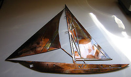 "Nautical SAILBOAT WALL ART DECOR 30"" tall copper/bronze plated - $89.09"