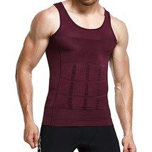GKVK Mens Slimming Body Shaper Vest Shirt Abs Abdomen Slim, Purple, XLch... - $15.36