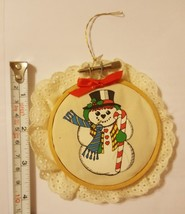 Round Ornament Snowman Christmas Xmas tree holiday season ORNAMENT vinta... - $15.78