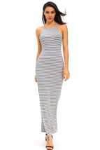 Gray White Stripes Maxi Dress with Side Slit  - $21.71