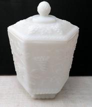 Anchor Hocking Fire King Cookie jar Milk Glass 6 Panel Grape Vine Design image 1